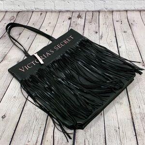 Victoria's Secret Black Fringe Large Tote Bag NWT
